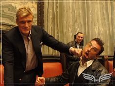 The Establishing Shot: A witty Dolph Lundgren delivers a punchline to @ckc1ne at The Expendables Blu Ray Launch & QA by Craig Grobler, via Flickr