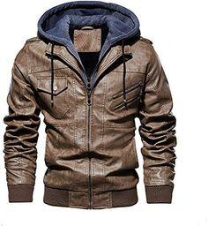 MOUTEN Men Winter Moto Biker Hoodie Fleece Pu Leather Quilted Jacket Coat Outerwear