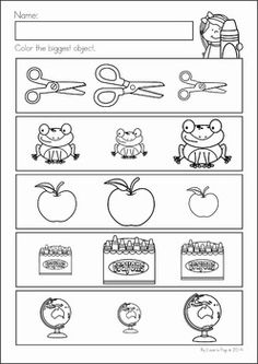 Back to School Math & Literacy Worksheets and Activities No Prep. Which is biggest? Preschool Number Worksheets, English Worksheets For Kids, English Lessons For Kids, Kindergarten Math Worksheets, Math Literacy, Preschool Lesson Plans, Preschool Learning Activities, Free Preschool, Camping Activities