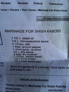 Chicken shish kabob marinade