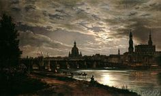 Johann Christian Clausen Dahl - View of Dresden by the light of a full moon