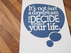 Large Quote Print Daydream Motivational Typographic by SamOssie, £20.00