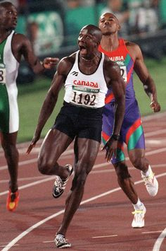 1996 - Donovan Bailey sprints as the fastest man alive! Maclean's 75 Uniquely Canadian Moments.   Canada OH Canada  
