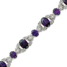 Sterling Silver Purple & Clear CZ Vintage Style Bracelet - 7.25 Inch West Coast Jewelry. $254.95. Save 24%!