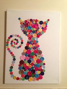 Colourful button cat, Button Belle, #button art   https://m.facebook.com/Buttonbelle1?id=167896146723163&refsrc=http%3A%2F%2Fwww.google.co.uk%2F&_rdr