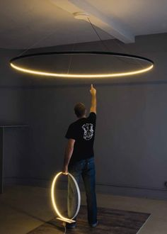 huge circle pendant - LED direct-indirect light pendant lamp OMEGA - Le Deun Luminaires