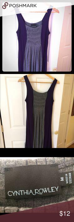 Purple and grey Cynthia rowley stretch dress Comfortable and flowy grey and purple Cynthia Rowley pull on dress.  Great for a hot summer day, size medium Cynthia Rowley Dresses