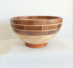 Segmented Wood Bowl Wedding Gift by Quiltwear on Etsy, $125.00
