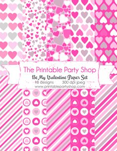 Be My Valentine- Printable Party Set cute postcards, paper designs, photo props, cupcake toppers and more :) www.printablepart... #valentines #pink #love valentine's day ideas  Be My Valentine Paper Set