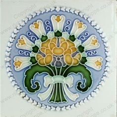ANTIQUE c.1900 DT AG. GERMAN ART NOUVEAU TILE #3. To visit my website to see what's in stock click here: http://www.richardhoppe.co.uk or for help or information email us here: info@richardhoppe.co.uk