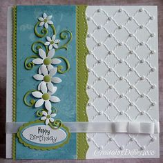 gorgeous handmade card ... dimensioal flowers & flourishes ... embossing folder trellace effect with tiny pearls at crossing points ... luv this tone of blue and green together... another awesome card .,.. thank-you, Debby, for sharing ...your cards make me smile!!