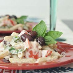 tomato basil pasta with kalamata cream sauce