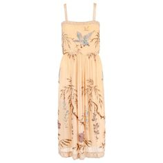 SADIE NEMSER c.1920's Cream Floral Bird Bead Embellished Silk Evening Dress    From a collection of rare vintage evening dresses and gowns at https://www.1stdibs.com/fashion/clothing/evening-dresses/