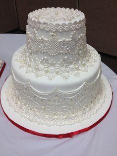 Dort krémový * svatební - zdobený perleťovým krajkovým vzorem s perličkami ♥
