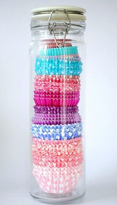Spaghetti Jar used for those pesky, fly away cupcake wrappers. organize