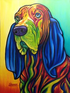 Abstract Bloodhound Dog Art Pillow Shams 12 X 20 Inches cushion cover Colorful Animals, Abstract Animals, Rainbow Art, Arte Pop, Dog Portraits, Animal Paintings, Dog Art, Pet Birds, Pug