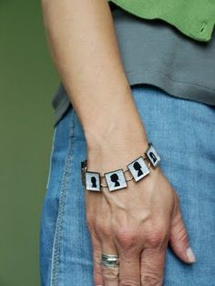 DIY silhouette bracelet.  Great gift idea for Grandma with silhouettes of all the grandkids