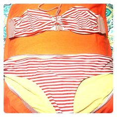 Red striped Gap body bikini XL Super cute bikini and perfect for 4th of July. It has cute metal connections on hips and between bust on top. Never worn tried on once. GAP Swim Bikinis