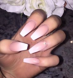 Best Ombre Nails for 2018 - 48 Trending Ombre Nail Designs - Best Nail Art Pink Ombre Nails, White Nails, Acrylic Nails Coffin Ombre, Coffin Acrylics, Matte Pink, Gradient Nails, Pink Nail, Nail Nail, Prom Nails