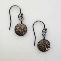 pavé diamonds and oxidized silver