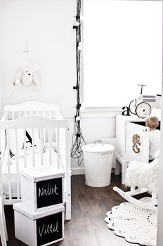 = white with tangled lights (because letting things like this dangle is totally safe in a baby's room)