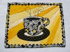 Sunshine Brew Mug Rug pattern $2.00 on Craftsy at http://www.craftsy.com/pattern/quilting/home-decor/sunshine-brew-mug-rug/48866