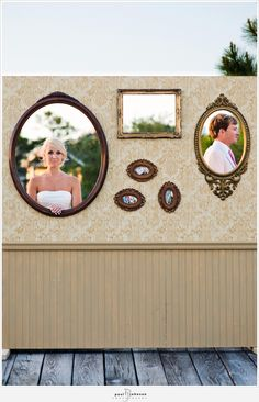 this is neat; you make a picture wall and cut out the frames so vintage pics can be taken