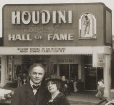 A rare, never-before-published photo of Harry Houdini and his wife Bess inhabiting this dimension to visit the Houdini Magical Hall of Fame in Niagara Falls, Canada.