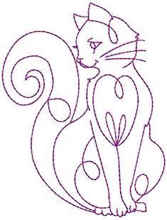 Redwork Elegant Cats Machine Embroidery por StitchXEmbroidery