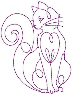 Redwork Elegant Cats Machine Embroidery por StitchXEmbroidery