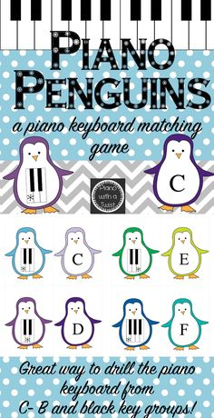 Winter Music Game- Piano Penguins: Reviews the piano keyboard and black key groups! Adorable penguins.