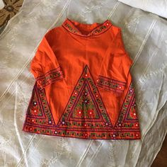 Vintage boho tunic Bright 3/4 lengths sleeve embroidered tunic top, boho Vintage Tops Tunics