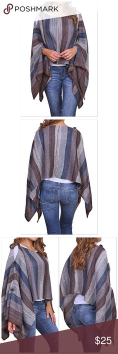 Beautiful Brown/Blue Striped poncho Striped poncho Brown/Blue with buttons on the sleeves. 100% Acrylic.  Great with jeans one size. Boutique Sweaters Shrugs & Ponchos