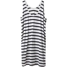 Hope Striped Tank Dress (165 CAD) ❤ liked on Polyvore featuring dresses, tops, vestidos, shirts, women, striped dress, tanktop dress, game day dresses, black striped dress and black day dress