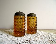 Thousand Eye Pattern Glass Amber Salt and Pepper Shakers Salts or Sugar Shakers 1800s. $92.00, via Etsy.