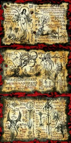 DEMON SCROLLS  cthulhu necronomicon monsters demon larp cosplay haunt magic prop #OutsiderArt
