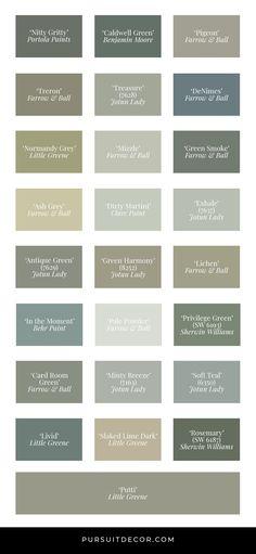 Behr Paint Colors, Green Paint Colors, Paint Color Palettes, Green Colour Palette, Grey Palette, Sage Green Paint, Sage Green Bedroom, Green And Grey, Sage Color