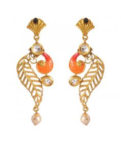 Women's Fashionable Kundan Polki Copper Earrings_Orange Black10