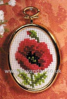 "Framed Poppy Cross Stitch Kit  2"" x 2.5"" (5cm x 6cm). Kit contains easy instructions, needle, 14 count Zweigart Aida fabric - pre-printed with design background, gold coloured frame and DMC stranded cotton threads. © Orchidea   £5.39"