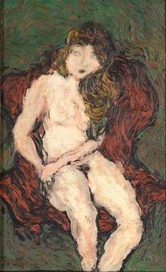 Chaim Soutine – Nude in Red Chair, Oil on paper