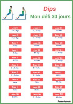 Dips : 30 jours pour travailler ses triceps et tonifier ses bras - The Complete Beginner's Workout Program Arm Workouts At Home, At Home Workouts For Women, Beginner Workout At Home, 30 Day Ab Workout, Month Workout, Push Up Challenge, Workout Challenge, Workout Schedule, Iyengar Yoga