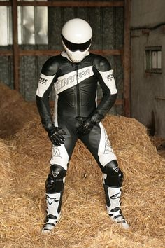 Someone posted this pic of me in my black and white Dainese Techno suit, having fun in a haystack :-)