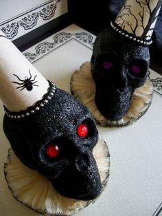 Halloween Black Glitter Skulls