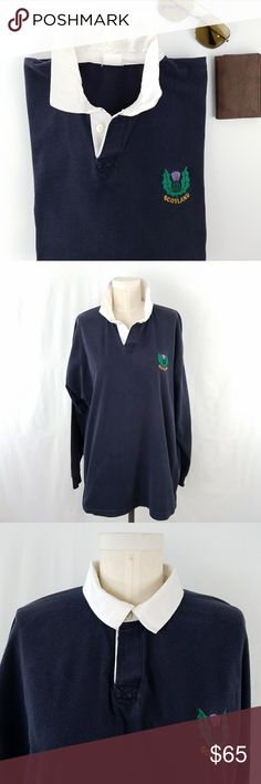 "Vintage Scotland Rugby Shirt 100% cotton Ribbed cuffs Contrast point collar with button placket  Label has faded - approximately size XL 48"" Chest 21.5"" Sleeve 24.5"" Shoulder  28.5"" Long Very good vintage condition - faint discoloration on interior collar  (see pic)  PLEASE READ CLOSET INFO AND POLICIES POST Vintage Shirts Polos"