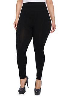 Plus Size High Waisted Leggings,BLACK