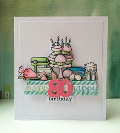 Baked Birthday using #bakedwithlove by #lawnfawn and #MFT dies | by Kezzie B
