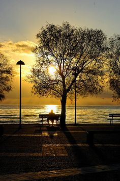 ~ 'On a Bench at Sunset' Kourouta Beach, Greece ~ What A Wonderful World, Beautiful World, Beautiful Places, Beside Still Waters, Sunset Silhouette, Mellow Yellow, Wonders Of The World, Places To Go, Art Photography