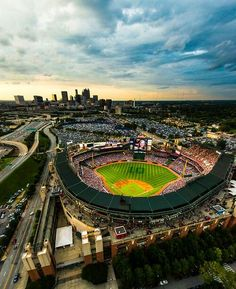 Love this view of Turner Field wit the skyline in the background!