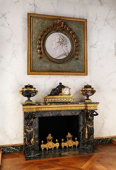 Fireplace after a design by François Joseph Belanger, Paris Home Fireplace, Fireplace Surrounds, Fireplace Mantels, Fireplaces, Mantel Shelf, Victorian Style Homes, Baroque Design, Gothic Furniture, Architrave