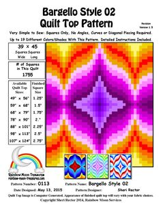 You're going to love 0113 Bargello Style 02 Quilt Pattern by designer Rainbow Moon. Bargello Quilt Patterns, Bargello Needlepoint, Bargello Quilts, Quilt Patterns Free, Block Patterns, Free Pattern, Quilting Tips, Quilting Tutorials, Machine Quilting